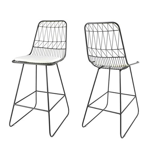 """Great Deal Furniture Hedy Outdoor Counter Stools, 26"""" Seats, Modern, Geometric, Gray Iron Frames with Ivory Cushion (Set of 2)"""