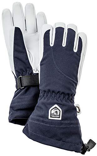 Hestra Heli Damen Ski-Handschuhe, extra warm, Leder, für den Winter, kaltes Wetter, Marineblau/Off-White, Größe 8