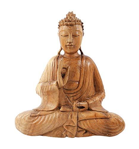 Estatua de Buda sentado de madera maciza tallada mano H20cm–mûdra de la enseñanza y de la argument