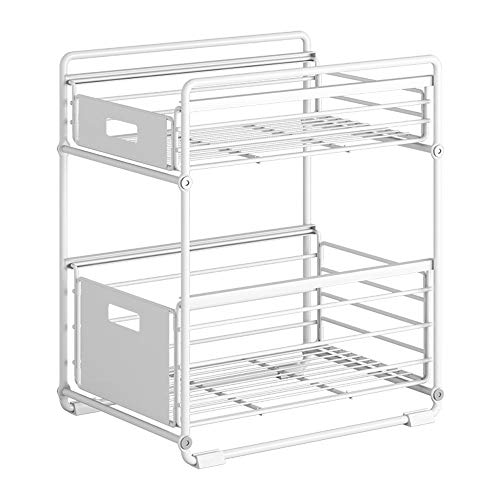 Kitchen shelf Foldable sink rack countertop two-layer pull-out drawer shelf layered storage rack