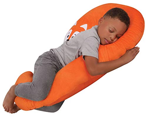 roll pillow for kids Leachco Snoogle Jr. - Luxuriously Soft Plush Fox with Zippered Removable Cover – The Snuggle, Cuddle, Animal Body Pillow for Kids