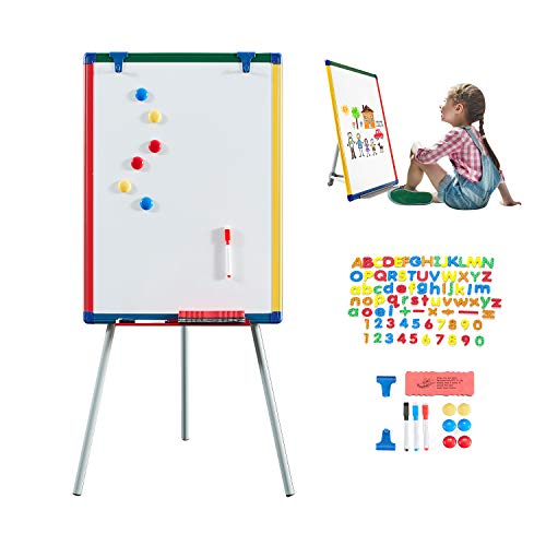 MAKELLO Whiteboard Easel Kid Dry Erase Board for Teaching Homeschooling with 82 pcs Magnetic Letters and Numbers, 6 Magnets, 3 Pens, Dry Eraser, 24X18 inches