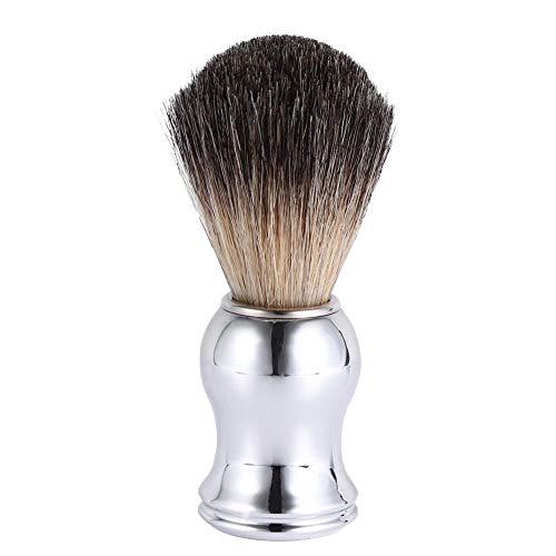 Brosse barbe pour hommes, manche en bois professionnel Brosse raser Faux cheveux blaireau Outil de beauté coiffeur Outil de nettoyage Faux blaireau Manche en plastique argenté
