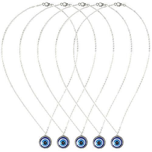 Shanrya Collar de Ojo Azul, Collar con Colgante Collar de Ojo Azul Turco 5 Piezas para Aniversarios para Actividades diarias