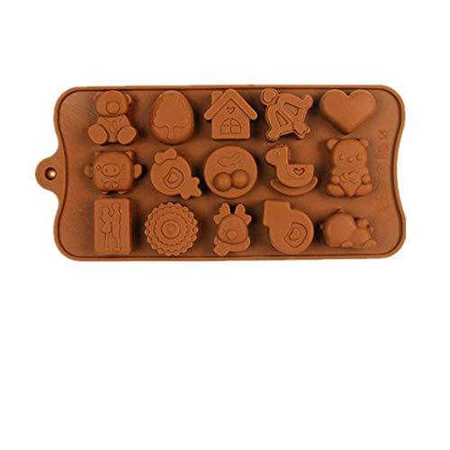 Direct 15 incluso medio cerezo grado alimenticio de chocolate rejilla de hielo molde de silicona para hornear tortas al por mayor pastel de chocolate molde de silicona