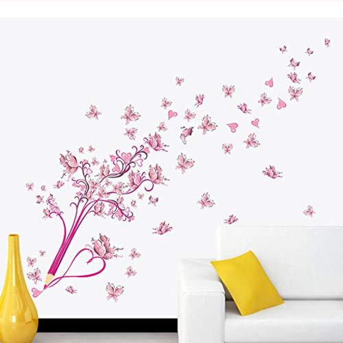 Fliegende Rosa Buttrfly Blume Blüte Bleistift Baum Abnehmbare Wohnzimmer Mädchen Schlafzimmer Wandaufkleber Diy Wohnkultur Aufkleber Wandbild