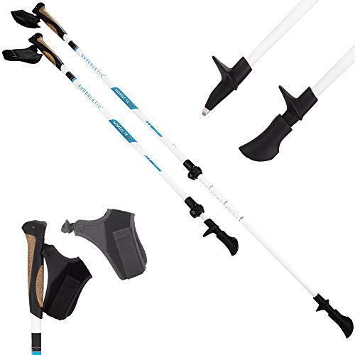 SUPERLETIC Nordic TX 80 Elite Nordic Walking Stöcke, 80{ddd4a13901134e708c3aa5e6c00276d8ab367c8102a0db09fc2aa390f289935e} Carbon, leicht verstellbar mit Teleskop (100-130 cm), Korkgriffe mit klick-System