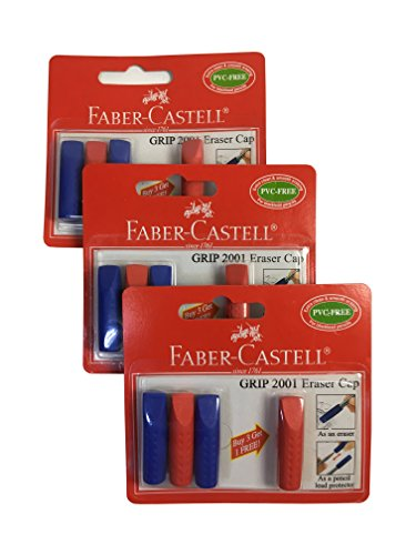 Faber-Castell Grip 2001 PVC Free Eraser Toppers Eraser Cap Eraser Top As An Eraser For Black lead Pencils Or As Pencil Lead Protector Suitable For School Kids And Office (Total of 12 Eraser Caps)