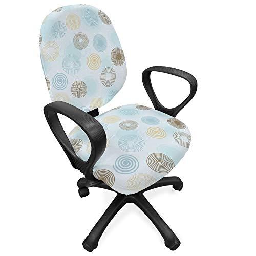 ABAKUHAUS Brown and Blue Hoes voor Bureaustoel, vortex Twirls, Decoratieve en Beschermende Hoes van Stretchstof, Pale Blue Mosterd Umber