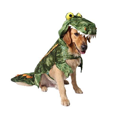 ANCHAO Divertido Disfraz De Perro Grande De Cocodrilo De Dinosaurio De Halloween, Abrigo De Invierno Cálido para Perros, Chaqueta, Ropa para Perros Golden Retriever