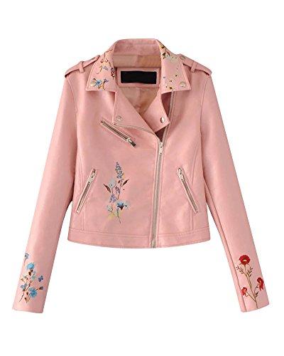 Faux Leder Damen Motorrad Jacke Zip Up Reißverschluss Oberbekleidung Kunstlederjacke Bikerjacke Blazer Pink 1 L