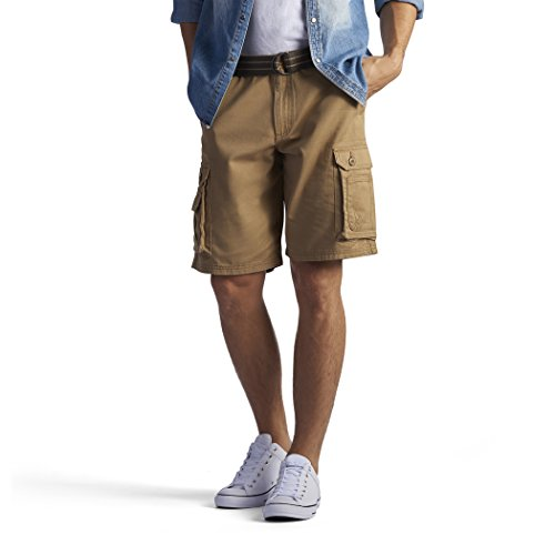 Lee Men's New Belted Wyoming Cargo Short, Bourbon, 34