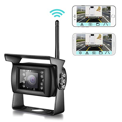 Uzone Wireless Phone Backup Camera, WiFi Rear View Camera with Smart App IP68 Waterproof IR Night Vision Wide Angle Reversing Camera for Trucks Trailers RVs