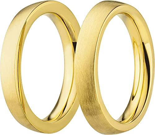 Style Republic Damen Ring Steckring aussen Stacking Edelstahl goldfarben matt 6047, Gr. 54