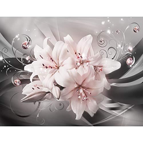 Runa Art Fototapete Blumen Lilien Modern Vlies Wohnzimmer Schlafzimmer Flur - made in Germany - Schwarz Rosa 9434010b