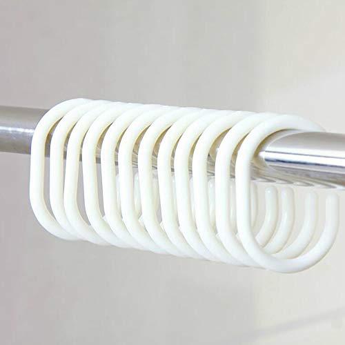 Ogquaton Kunststoff Duschvorhang Ringe Bad Bad Schleife Clip Glide Fenster Stange Vorhang C Ringe 12 Packs (weiß)