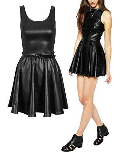 Islander Fashions Damen Wet Look PVC Leder figurbetontes Kleid Minirock Tunika Top Leggings (Skater Belted Dress # 3X Large)