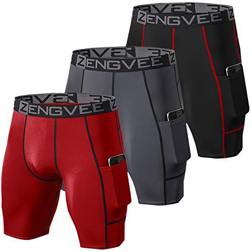 ZENGVEE 3 Piezas Pantalones Running Hombres de Secado Rápido para Mayas Deportivas Hombre para Gym, Yoga, Running(Black Grey Red-L)