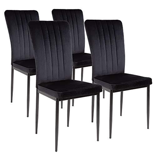 Silla de comedor Albatros Modena, Set de 4 sillas, negro, certificada por la SGS