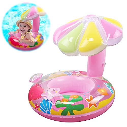 Sunshine smile Baby Schwimmring,Aufblasbarer Schwimmreifen,Baby Schwimmring mit Sonnenschutz,Baby Float,Aufblasbarera Byschwimmen,Baby Schwimmtrainer,Schwimmhilfe Spielzeug,Schwimmring Aufblasbarer