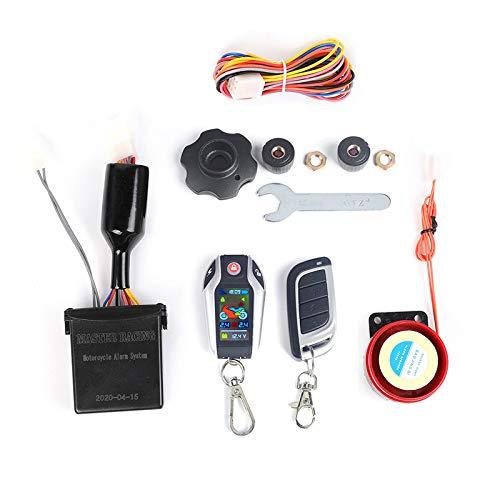 SNOWINSPRING Sistema de Alarma Digital Antirrobo para Motocicletas Arranque Remoto del Motor LCD de LocalizacióN Remota con Sistema de Alarma de PresióN de NeumáTicos A