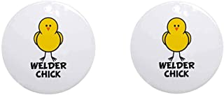 i-zehibho-i Ceramic Round Ornaments (2 Pack) - Welder Chick Personalized Custom Handmade Holiday Christmas Ornament Ideas 2019, 2.87