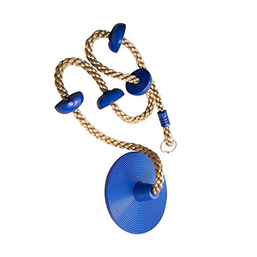 Kinderen Tree Disc Swing, Boom Swing Disc Rope Swing, Swing Tree Climbing Rope with Platform En Disc, 30Cm in Diameter,Blue