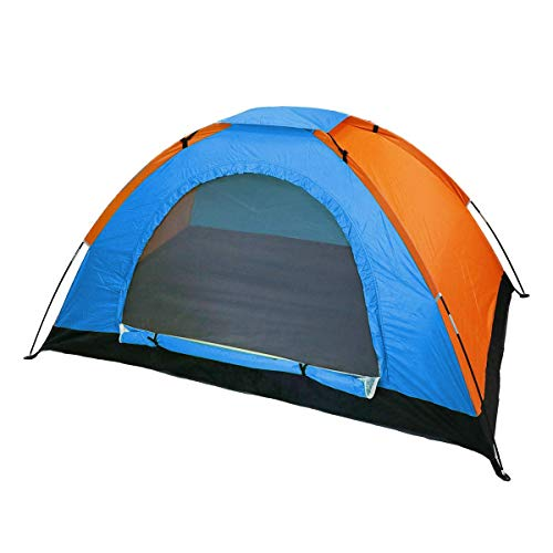 LLPERCOM Tienda de campaña de fácil Montaje, Polyester y Varillas de Acero Resistente. 4 Personas, Color: Azul Y Naranja. Medidas: 200 x 200 x 130 cm. Impermeable.
