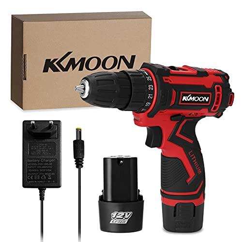 KKmoon Taladro atornillador inalámbrico de 12 V, 1350 rpm, batería de litio de alto rendimiento, batería de litio de 3600 mAh, inalámbrico, recargable, con cepillo