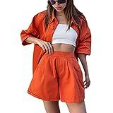 Survêtement d'été 2 pièces pour femme, chemise à simple boutonnage + short à taille...