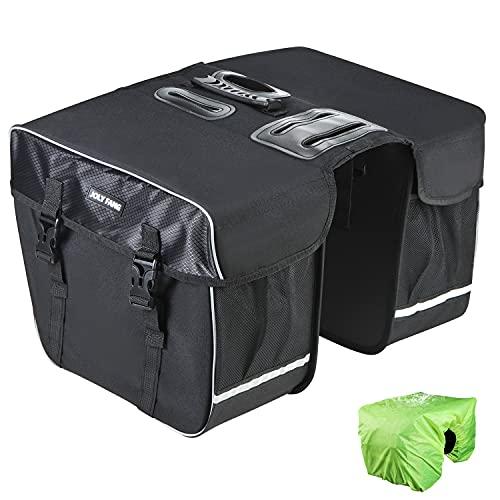 JOLY FANG Gepäckträgertasche, Fahrradtasche für Gepäckträger, Fahrrad Doppeltasche Wasserdicht, Reißfeste Fahrrad Reisetasche mit Regenschutz, 30L