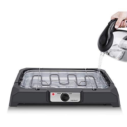 Aigostar Lava 31LDQ– Barbacoa eléctrica, Grill, 2000W, bandeja recoge grasa, uso con agua: evita los humos, uso en interiores, termostato, superficie antiadherente