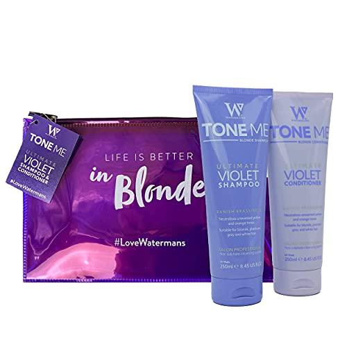 Watermans Purple Shampoo & Conditioner Set per capelli biondi, borsa per il trucco gratuita, rimuove rapidamente i toni del giallo per i capelli biondi, platino, bianchi o grigi.