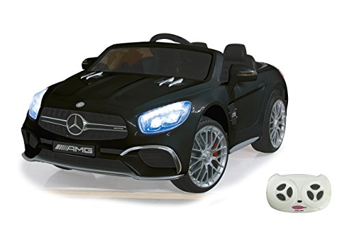 RC Auto kaufen Kinderauto Bild: Jamara 460295 Ride-on Mercedes SL65 schwarz 12V-Softanlauf, 2-Gang, Stoßdämpfer, SD-Slot, AUX-und USB-Anschluss, LED, Hupe,bis zu 90 Min. Fahrzeit,Ultra-Gripp Gummiring*