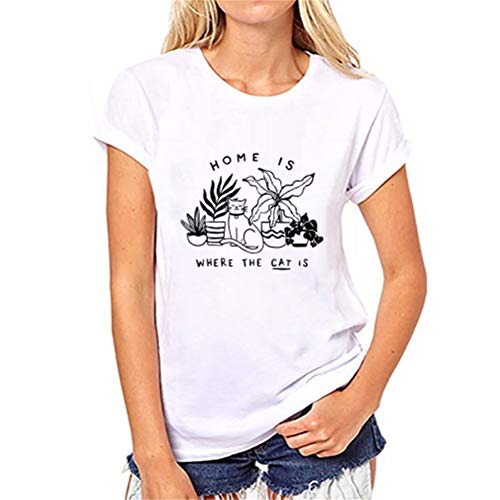 fpengfashion Thuis is Waar De Kat is Grappige T Shirts Womens Casual Plant Cat Grafische Korte Mouw Tee Tops Blouse