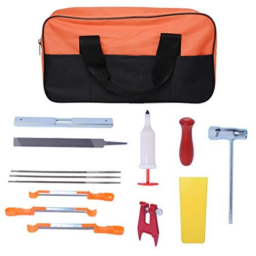 "Gekufa Chainsaw Sharpening Kit with 3/16"" 5/32"" 7/32"" Round Files,3 Sharpening File Guide,Felling Wedge,Chainsaw Grease Gun,Stump Vise,Flat File,Wrench,Depth Gauge,Hardwood Handle,Nylon Bag(14Pcs)"