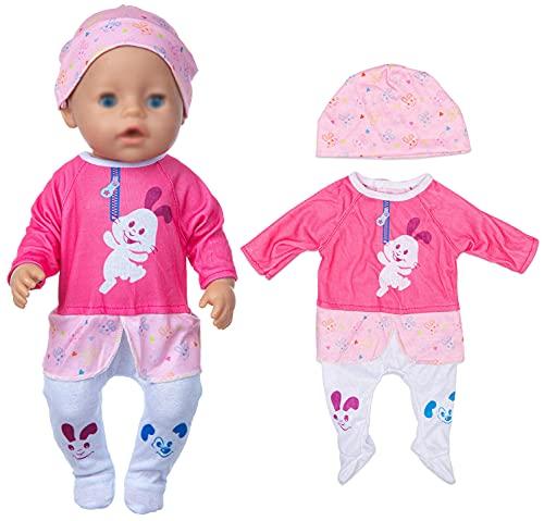 ebuddy Puppenkleidungsspielanzug im Kaninchenstil mit Hut für 43cm / 17 Zoll Neugeborene Babypuppen (Keine Puppe)