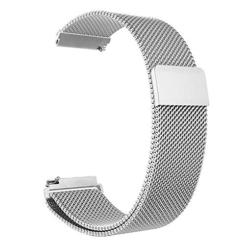 Correa magnética de metal para reloj de malla milanesa con cierre rápido para mujeres y hombres, 16 mm, 18 mm, 20 mm, 22 mm, 24 mm (plata, 20 mm)