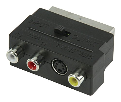 Valueline VLVP31902B – Adaptador conmutable SCART macho a 3 conectores RCA Phono y conector Super Video - Adaptador Euroconector a 2 x RCA Phono audio, 1 x RCA Phono Video, 1 x S-Video hembra