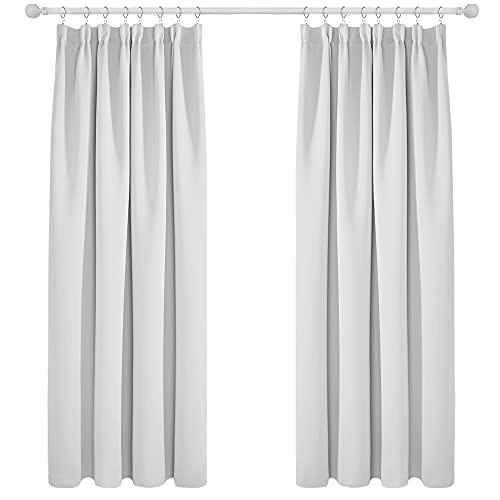 Deconovo Cortinas Fruncidas Termicas Aislantes Salón Decorativa Ventanas para Habitacion Moderna 2 Piezas 168x183cm Gris Blanco