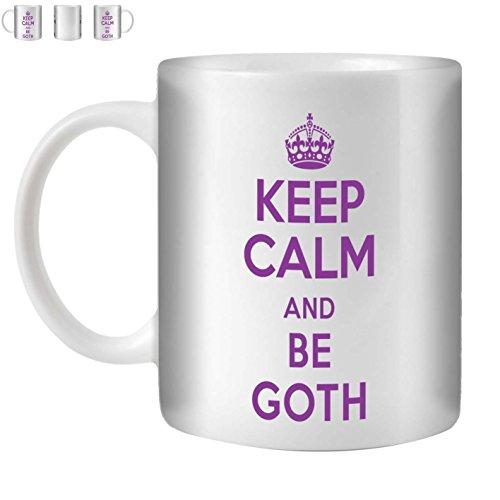 Stuff4 thee/koffie beker 350ml/goth/lila tekst/Keep Calm Be./Witkeramiek/ST10