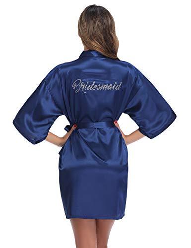 Aibrou Kimono Damen Morgenmantel Bademantel Nachtwäsche Sleepwear Kurz Satin Robe Bademante mit V Ausschnitt Gürtel für Braut Hochzeit Party Brautjungfern Junggesellenabschied