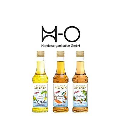 Set Monin Light 3x 250 ml Vanille,Haselnuss,Caramel, Das Set beinhaltet folgende Monin Sirup-0,25 l Flaschen: 1x Vanille Light, 1x Caramel Light, 1x Haselnuss Light