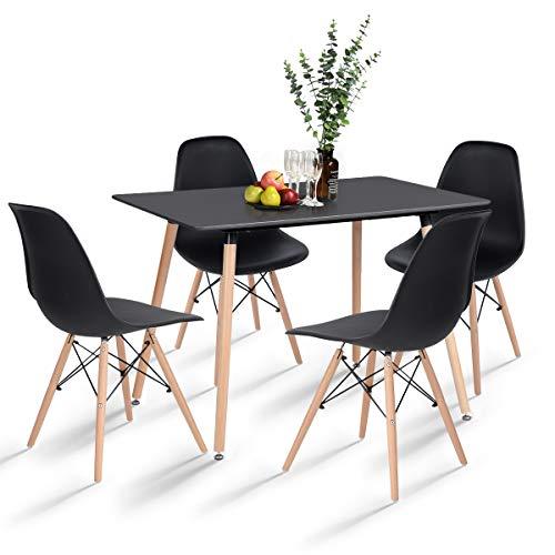 H.J WeDoo Essgruppe mit 4 Esszimmerstühle für Esszimmer Küche Wohnzimmer, Schwarz Esstisch und Stühle