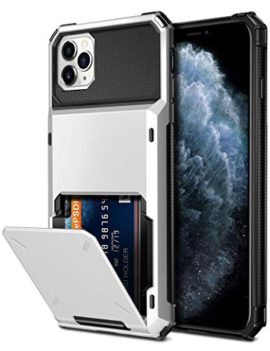 Vofolen Compatible with iPhone 11 Pro Max Case Protective Wallet 4-Card Holder ID Slot Flip Door Hidden Pocket Dual Layer Hybrid Bumper Armor Hard Shell Back Cover for iPhone 11 Pro Max 6.5 inch White