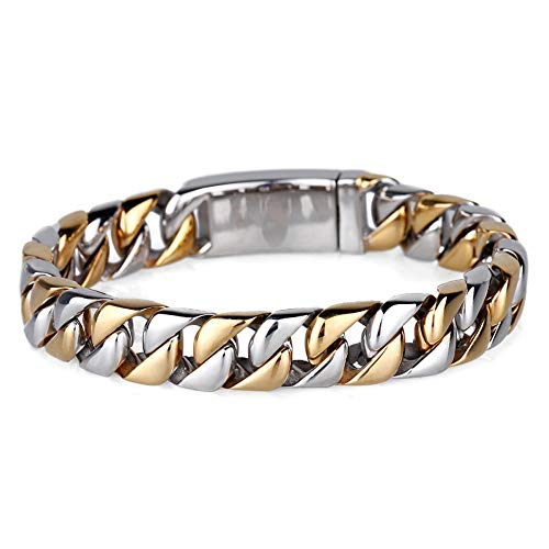 WANGLXTC Fijne Titanium Steel Armband, Duurzaam RVS 12mm Zware Brede Mens Link Ketting Armband (inbegrepen Geschenkdoos) Unisex, Gouden