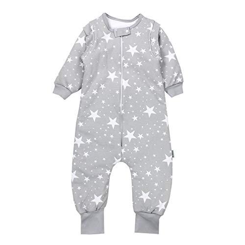 TupTam Baby Unisex Schlafsack mit Beinen und Ärmel Winter, Farbe: Weiße Sterne/Grau, Größe: 92-98