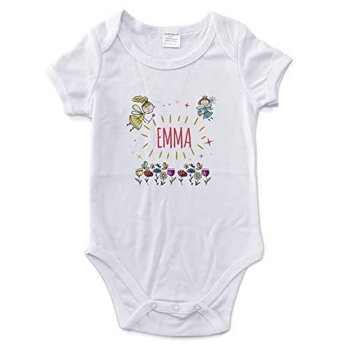 LolaPix Body Bebé Niña Personalizado con Nombre. Regalos Personalizados para Bebés. Bodies Personalizados Manga Corta. Varias Tallas. Interior 100% de Algodón. Hadas