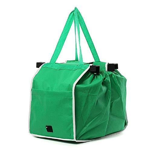 Bolsas de la compra reutilizables, bolsa plegable ecológica supermercado, cesta de la compra verde, verde, talla única