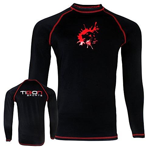 Tigon MMA Rashguard Sous-vêtement de compression à manches courtes pour homme Noir Taille L